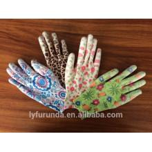 13 Gauge bunte Nylon Handschuhe mit PU Palme beschichtet