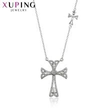 44559 Xuping joyería cruzada color plata diseño colgante collar joyería