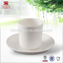 Ceramic porcelain wholesale plain white tea cup saucer for restaurant
