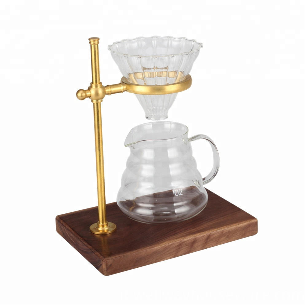 Brass Pour Over Coffee Dripper Stand With 2
