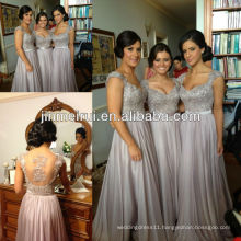 Free shipping 2013 new arrival brown a line cap sleeve applique floor length long chiffon bridesmaid dress JBD019
