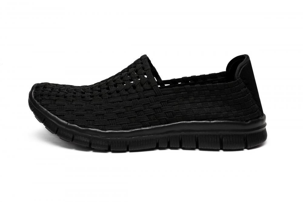 Classic All-Black Woven Work Shoes