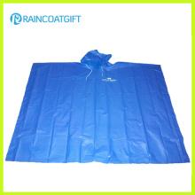 Poncho de lluvia azul PE disponible para la promoción (Rpe-012)