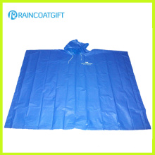 Disposable Blue PE Rain Poncho for Promotion (Rpe-012)