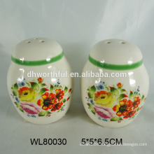 Colorful ceramic salt and pepper shaker with full decal