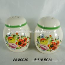 Красочная керамическая соль и перечный шейкер с полной декалью