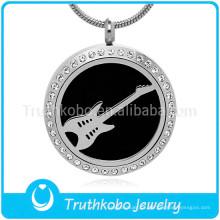 Personalizado memorial com cristal preto guitarra padrão em forma de pingente colar de difusor de óleo essencial para homens