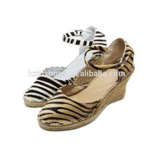 2016 high heel wedge sandal leopard horsehair rubber jute sole women's shoe