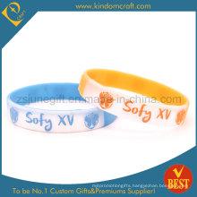 Custom Embossed Logo Solid Brand Color Silicone Bracelets (030)