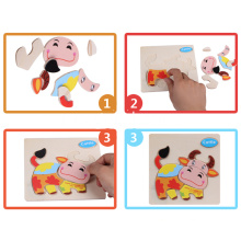 Intelligence Children Educational Toy Carton Animal Wooden 3D Puzzle