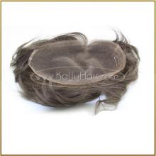 Peluca del cabello humano del pedazo indio verdadero del pelo del 100% para los hombres