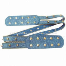Ladies' wide elastic belt with zipper stud parts