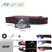 For Hiking 1W LED On-1 White LED On - 2 Red LED On- 2 Red LED Flash Rechargeable Headlamp
