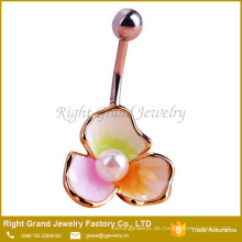 Mode 316L Chirurgenstahl Faux Perle 3 Blütenblätter Nabel Bauch Ring Schmuck