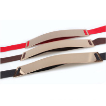 Metal mirror fashion lady elastic belt
