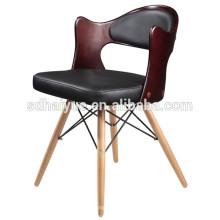 2017 Черная искусственная кожа коричневая фанера ресторан хорошего качества стула обеденный стул с деревянной ноги