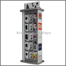Custom Design Wood Frame Metal Base Cellphone Accessories Instore Retail Shop Display Fixture