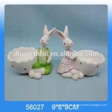 Excelentes tazas de huevo de cerámica de diseño con figura de conejo lindo