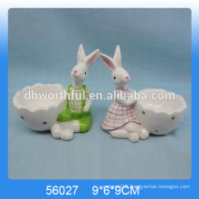 Excellent design ceramic egg cups with cute rabbit figurine