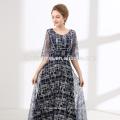 2018 longue robe de bal dernière conception royal blue Bronzing dentelle ronde robe de soirée formelle