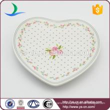 Amarillo corazón Decal Cerámica plato para la decoración