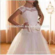 2016 nuevo diseño de manga corta con cordones decoración niña vestido de novia de encaje patrones de vestido de niña de flores para la boda