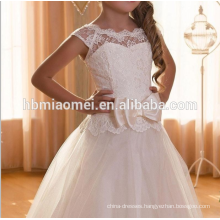 2016 new design short sleeve laced decoration baby girl wedding dress lace flower girl dress patterns for wedding