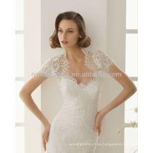 Encanto 2014 Sweetheart encaje vestidos de novia de sirena con un cuello alto manga corta Bolero vestidos de novia de la iglesia NB003