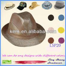 LSP20 Ningbo Lingshang 2014 mais novo estilo trançado 100% natural chapéu de palha de papel
