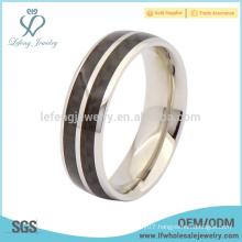 New arrival titanium silver ring,black enamel bank ring