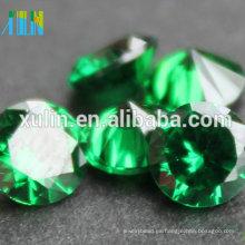 Piedras preciosas flojas preciosas del precio de la piedra preciosa de la forma redonda al por mayor del verde cz piedra