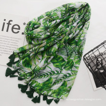 Fashion green printing scarf cotton voile material scarf with tassels women travel scarf