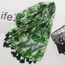 Moda verde impressão lenço de algodão voile material cachecol com borlas mulheres lenço de viagem