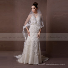 Stunning lace and beads handwork V-neck backless champagne wedding dress