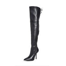 Fashion Pointed Toe Stiletto Leather Shallow Mouth women's High Boots