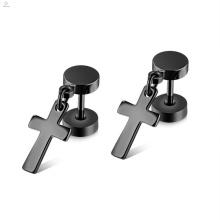 Punk Statement Barbell Stud Stainless Steel Drop Hanging Cross Men Earrings