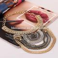 2017 Retro diamant Indische Vintage Tessal Coin Drop Halskette Layered Chunky Gold Silber Halskette Frauen Schmuck