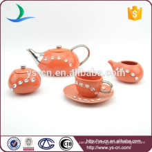 antique design hot selling tea coffee set with diamond