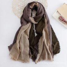 Damenmode 3 Ton Block Farbe Baumwolle Schal (YKY1134)
