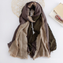 Women Fashion 3 Tone Block Color Cotton Scarf (YKY1134)