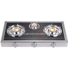 3 Burner Mirror Glass Panel Brass Burner Cap Stove