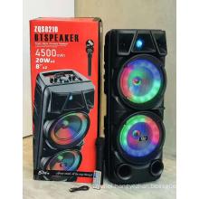 ZQS8210 Rechargeable Wireless Double 8 Inch Bt Popular Music Sound System Portable Karaoke Speaker