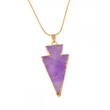 Natural Amethyst Arrow Pendant Necklace