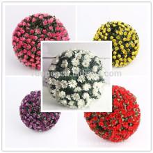 Yiwu bonito real toque de plástico rosa flor bola para decoração de casamento