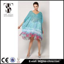 Großhandel Pfau Druck Frauen decken lange Strand Kleider