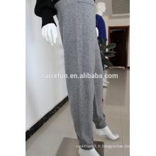 100% pantalons en cachemire pur tricoté 12GG