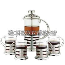 Pyrex en verre fait sur commande portatif français café de thé de presse de pot en gros