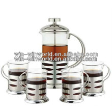 Portable Custom Glass Pyrex French Press Coffee Tea Pot Wholesale