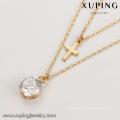 44181 en gros xuping bijoux en alliage de cuivre 18 k style catholique diamant blanc plaqué or bijoux lariat collier