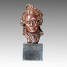 Bustos Arte Figura Bronze Escultura Músico Beethoven Latão Estátua TPE-334